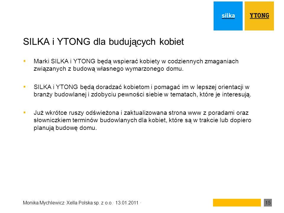 Monika Mychlewicz· Xella Polska sp. z o.o.· 13.01.2011 ·15 SILKA i YTONG dla budujących kobiet Marki SILKA i YTONG będą wspierać kobiety w codziennych