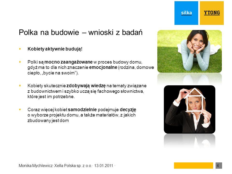 Monika Mychlewicz· Xella Polska sp. z o.o.· 13.01.2011 ·4 Polka na budowie – wnioski z badań Kobiety aktywnie budują! Polki są mocno zaangażowane w pr