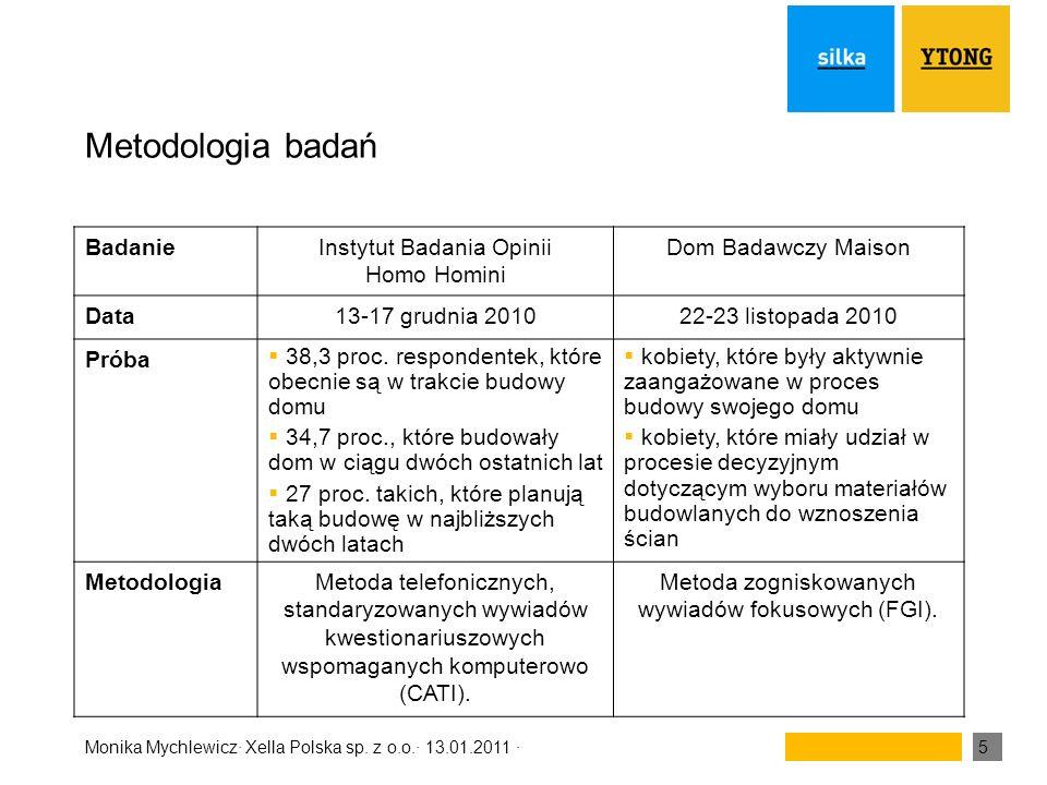 Monika Mychlewicz· Xella Polska sp. z o.o.· 13.01.2011 ·5 Metodologia badań BadanieInstytut Badania Opinii Homo Homini Dom Badawczy Maison Data13-17 g