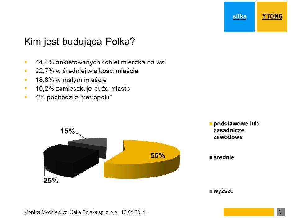 Monika Mychlewicz· Xella Polska sp. z o.o.· 13.01.2011 ·6 Kim jest budująca Polka? 44,4% ankietowanych kobiet mieszka na wsi 22,7% w średniej wielkośc