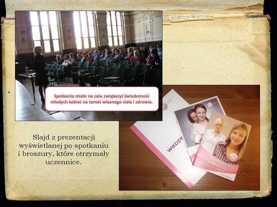 Slajd z prezentacji wyświetlanej po spotkaniu i broszury, które otrzymały uczennice.
