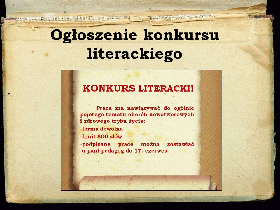 Ogłoszenie konkursu literackiego