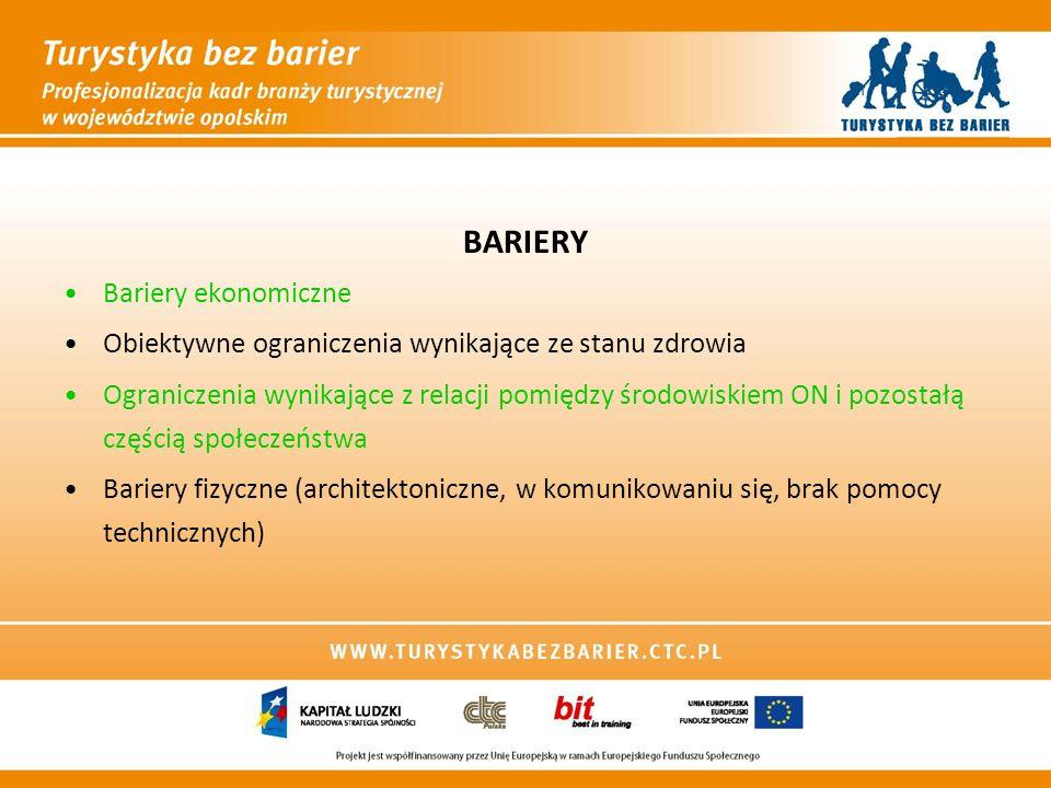 BARIERY Bariery ekonomiczne Obiektywne ograniczenia wynikające ze stanu zdrowia Ograniczenia wynikające z relacji pomiędzy środowiskiem ON i pozostałą