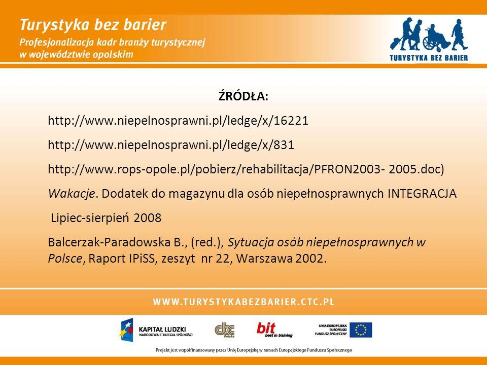 ŹRÓDŁA: http://www.niepelnosprawni.pl/ledge/x/16221 http://www.niepelnosprawni.pl/ledge/x/831 http://www.rops-opole.pl/pobierz/rehabilitacja/PFRON2003