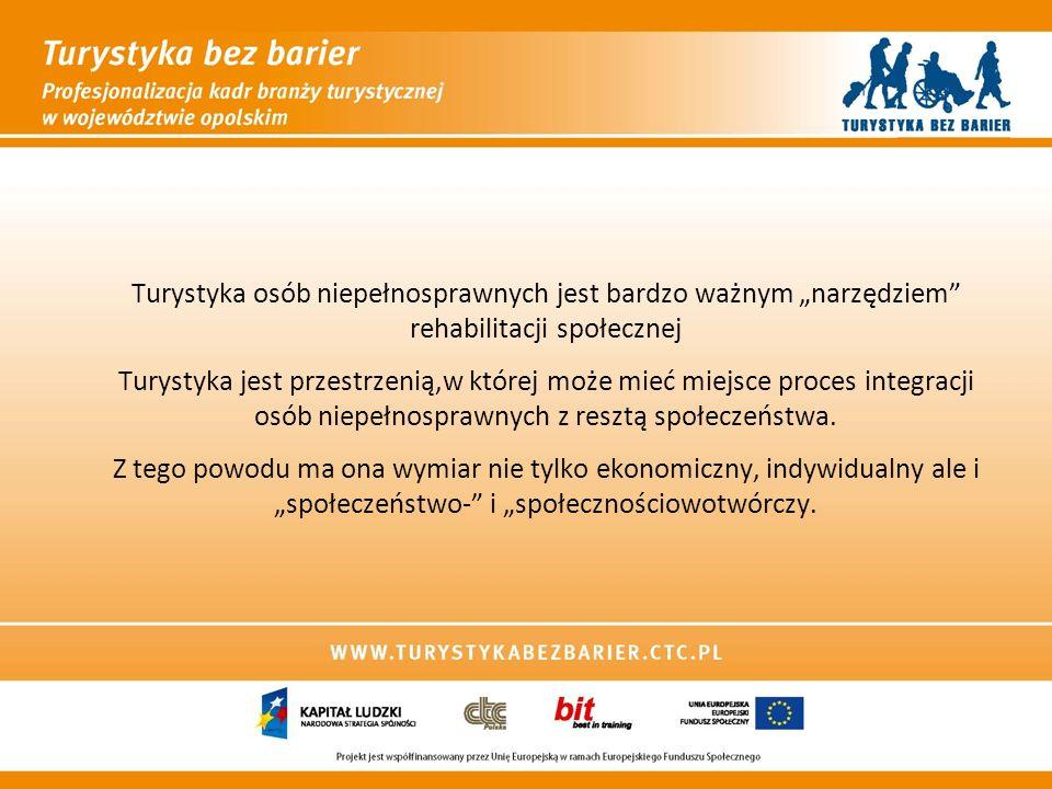 WPŁYW TURYSTYKI NA OSOBY NIEPEŁNOSPRAWNE (1) Sfera fizyczna ON: poprawa sprawności fizycznej poprawa kondycji regeneracja sił relaks