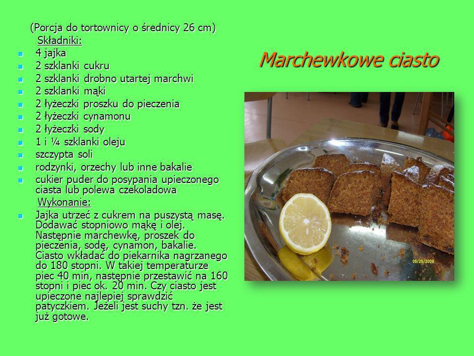 Marchewkowe ciasto Marchewkowe ciasto (Porcja do tortownicy o średnicy 26 cm) Składniki: Składniki: 4 jajka 4 jajka 2 szklanki cukru 2 szklanki cukru
