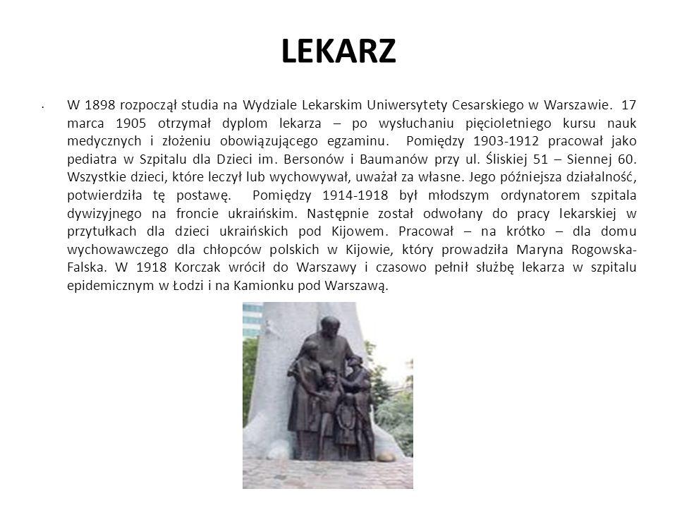 LEKARZ W 1898 rozpoczął studia na Wydziale Lekarskim Uniwersytety Cesarskiego w Warszawie. 17 marca 1905 otrzymał dyplom lekarza – po wysłuchaniu pięc