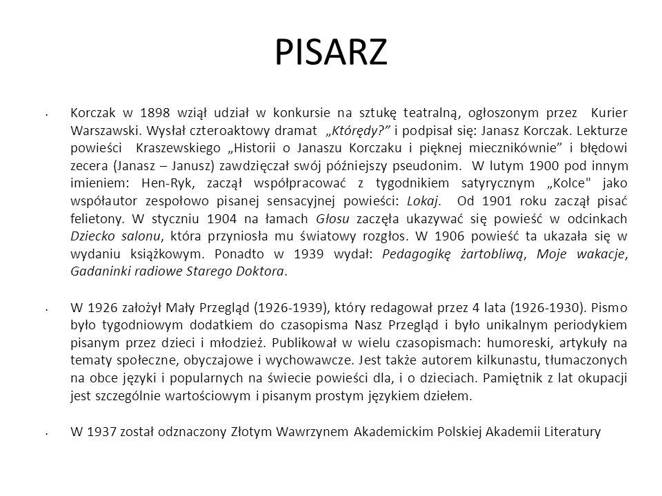 PISARZ Korczak w 1898 wziął udział w konkursie na sztukę teatralną, ogłoszonym przez Kurier Warszawski. Wysłał czteroaktowy dramat Którędy? i podpisał