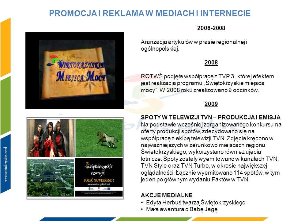 PROMOCJA I REKLAMA W MEDIACH I INTERNECIE 2006-2008 Aranżacja artykułów w prasie regionalnej i ogólnopolskiej. 2008 ROTWŚ podjęła współpracę z TVP 3,