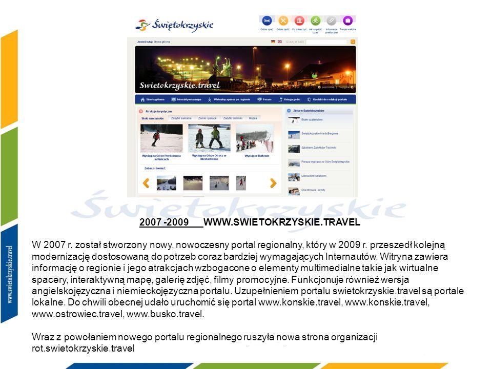 2007 -2009 WWW.SWIETOKRZYSKIE.TRAVEL W 2007 r. został stworzony nowy, nowoczesny portal regionalny, który w 2009 r. przeszedł kolejną modernizację dos