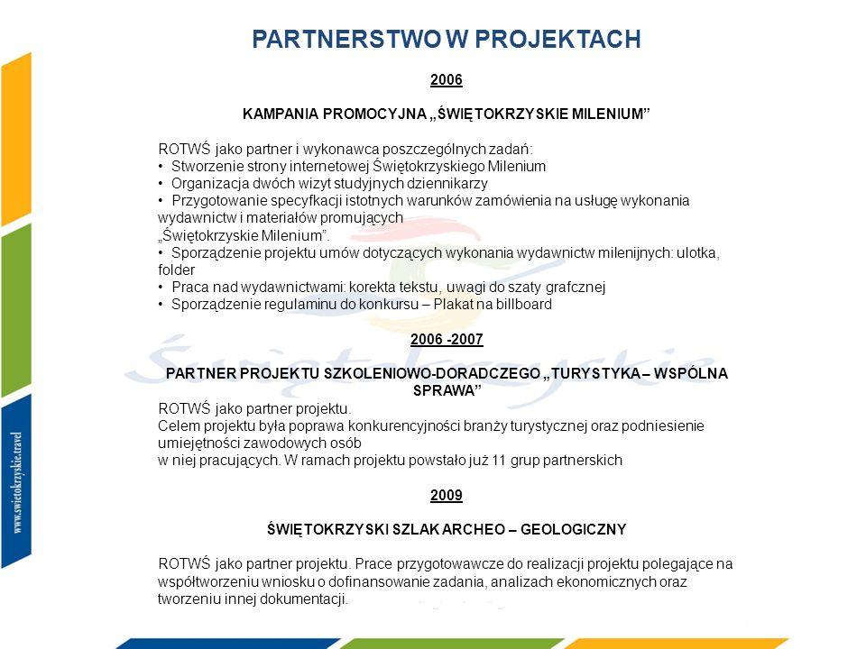 PARTNERSTWO W PROJEKTACH 2006 KAMPANIA PROMOCYJNA ŚWIĘTOKRZYSKIE MILENIUM ROTWŚ jako partner i wykonawca poszczególnych zadań: Stworzenie strony inter