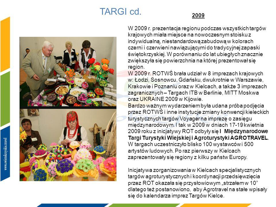 TARGI cd. 2009 W 2009 r. prezentacja regionu podczas wszystkich targów krajowych miała miejsce na nowoczesnym stoisku z indywidualną, niestandardową z