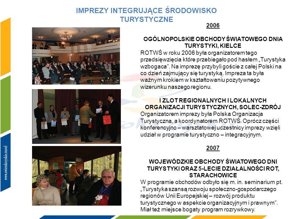 PODRÓŻE STUDYJNE 2006 W roku 2006 ROTWŚ była organizatorem dwóch wizyt studyjnych dziennikarzy w ramach kampanii Świętokrzyskie Milenium 2007 Podczas 2007 roku miały miejsce dwie wizyty studyjne dziennikarzy: pierwsza z nich poświęcona była turystyce biznesowej.
