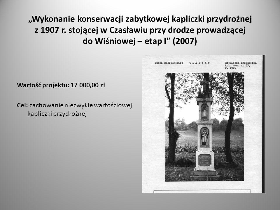 Wykonanie konserwacji zabytkowej kapliczki przydrożnej z 1907 r.