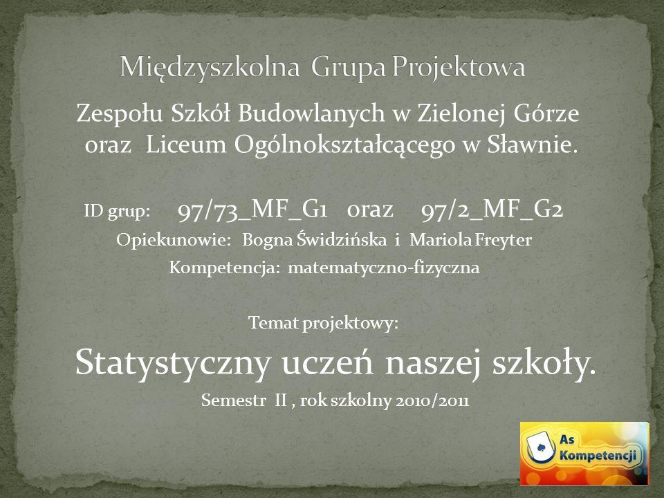 Zespołu Szkół Budowlanych w Zielonej Górze oraz Liceum Ogólnokształcącego w Sławnie. ID grup: 97/73_MF_G1 oraz 97/2_MF_G2 Opiekun0wie: Bogna Świdzińsk