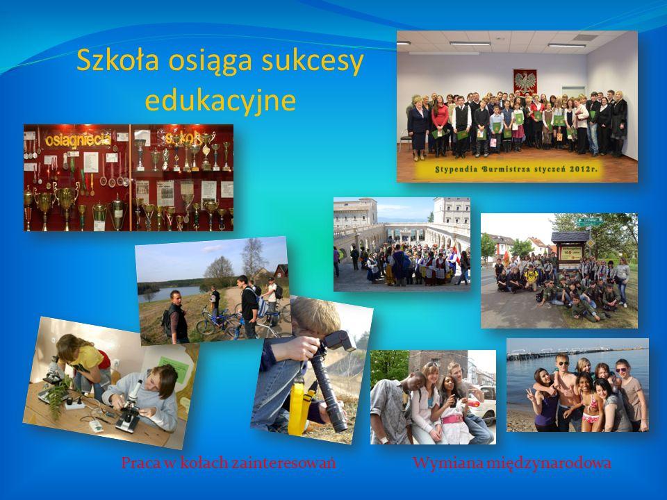 Szkoła osiąga sukcesy edukacyjne Praca w kołach zainteresowańWymiana międzynarodowa
