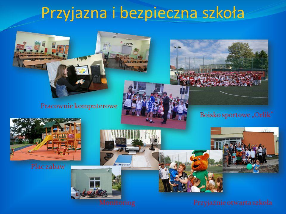 Przyjazna i bezpieczna szkoła Pracownie komputerowe Boisko sportowe Orlik Plac zabaw MonitoringPrzyjaźnie otwarta szkoła