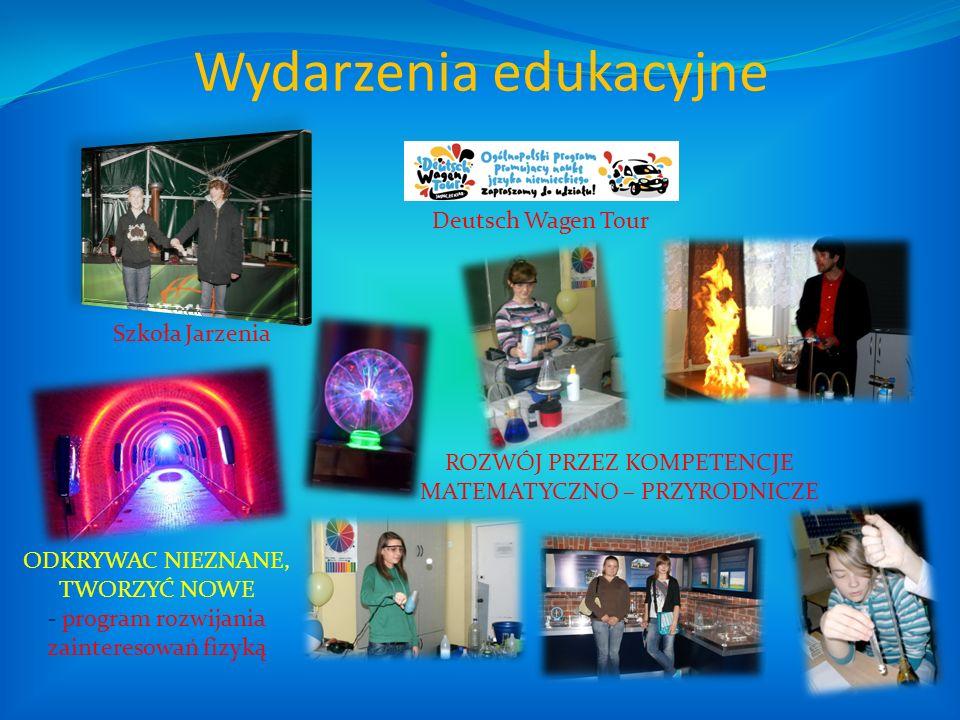Wydarzenia edukacyjne Szkoła Jarzenia ODKRYWAC NIEZNANE, TWORZYĆ NOWE - program rozwijania zainteresowań fizyką Deutsch Wagen Tour ROZWÓJ PRZEZ KOMPET