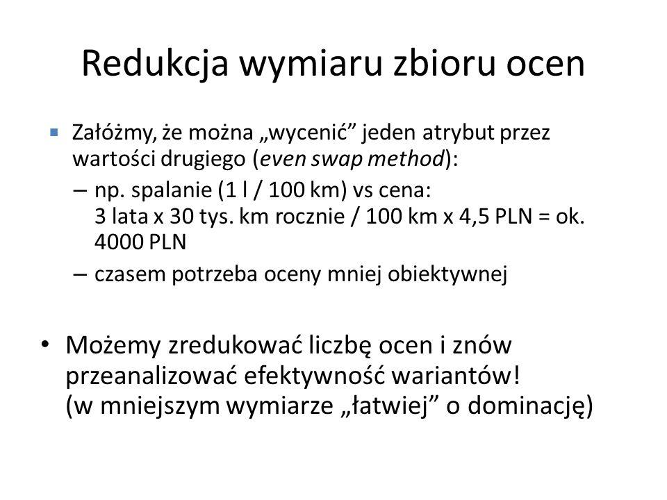 Redukcja wymiaru zbioru ocen Załóżmy, że można wycenić jeden atrybut przez wartości drugiego (even swap method): – np. spalanie (1 l / 100 km) vs cena