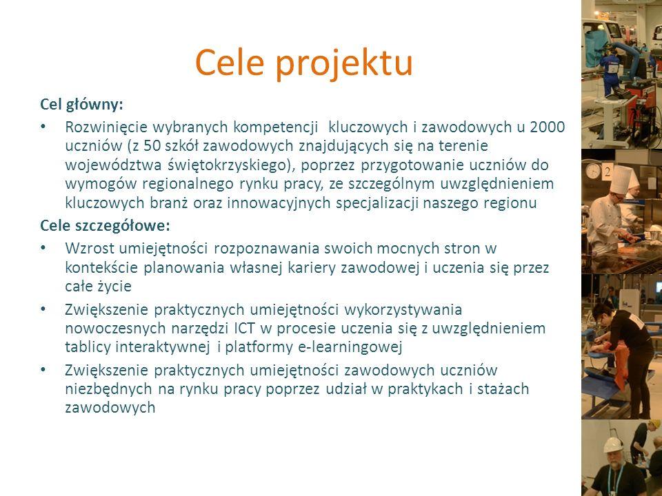 Grupa docelowa Wsparcie adresowane jest do 2000 uczniów (klas 1 i 2) z 50 szkół zawodowych województwa świętokrzyskiego.