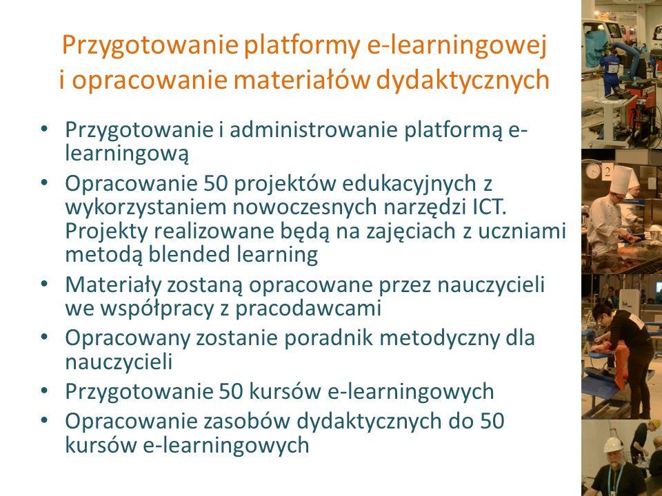 Skuteczna edukacja zawodowa Przeprowadzenie 24 godzin dodatkowych zajęć dydaktycznych (16 stacjonarne+ 8 e-learning) dla 100 grup uczniów (średnio 20 uczniów).