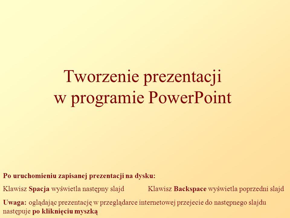 Tworzenie prezentacji w programie PowerPoint Po uruchomieniu zapisanej prezentacji na dysku: Klawisz Spacja wyświetla następny slajd Klawisz Backspace