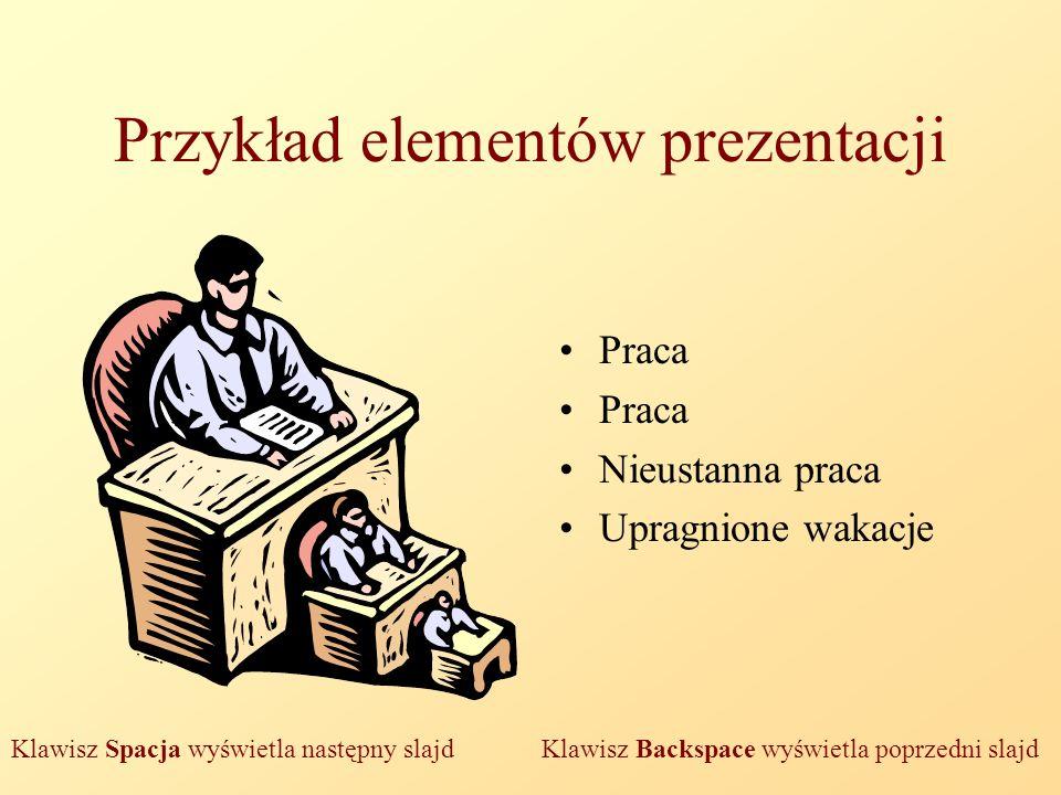 Przykład elementów prezentacji Praca Nieustanna praca Upragnione wakacje Klawisz Spacja wyświetla następny slajd Klawisz Backspace wyświetla poprzedni