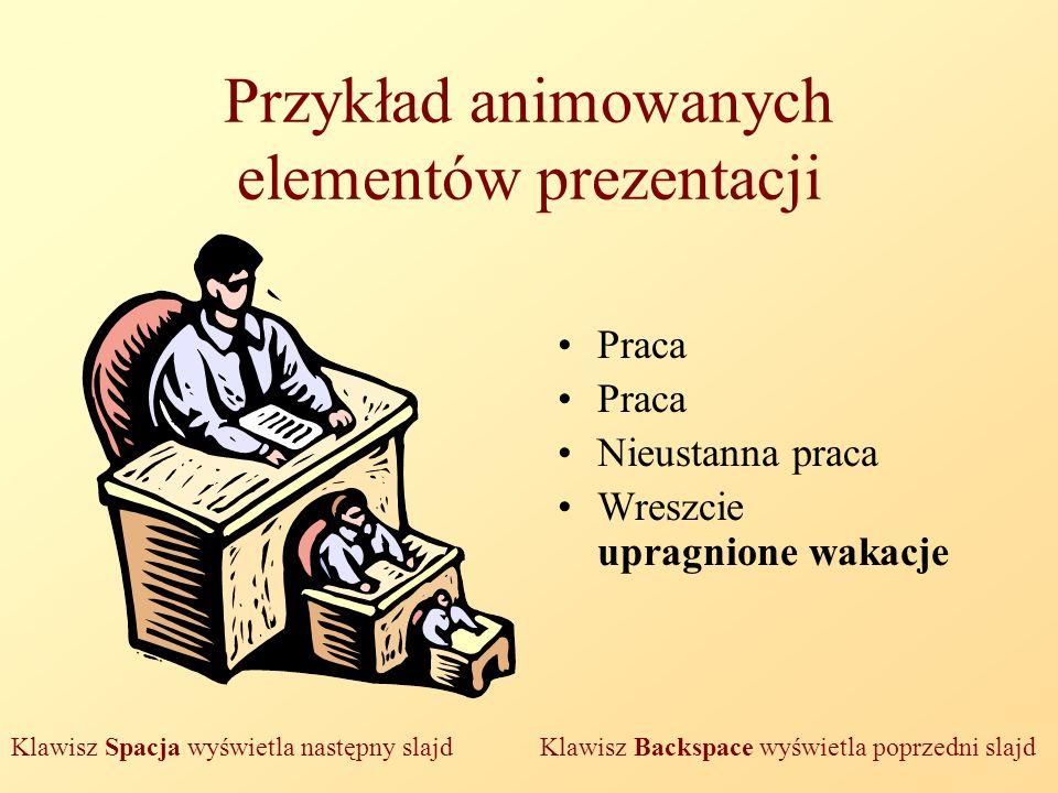 Przykład animowanych elementów prezentacji Praca Nieustanna praca Wreszcie upragnione wakacje Klawisz Spacja wyświetla następny slajd Klawisz Backspac