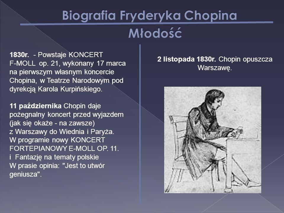1830r. - Powstaje KONCERT F-MOLL op. 21, wykonany 17 marca na pierwszym własnym koncercie Chopina, w Teatrze Narodowym pod dyrekcją Karola Kurpińskieg
