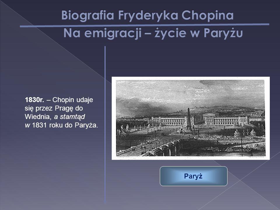 1830r. – Chopin udaje się przez Pragę do Wiednia, a stamtąd w 1831 roku do Paryża. Paryż