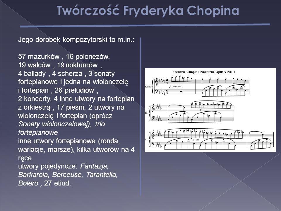 Jego dorobek kompozytorski to m.in.: 57 mazurków, 16 polonezów, 19 walców, 19 [ nokturnów, [ 4 ballady, 4 scherza, 3 sonaty fortepianowe i jedna na wi