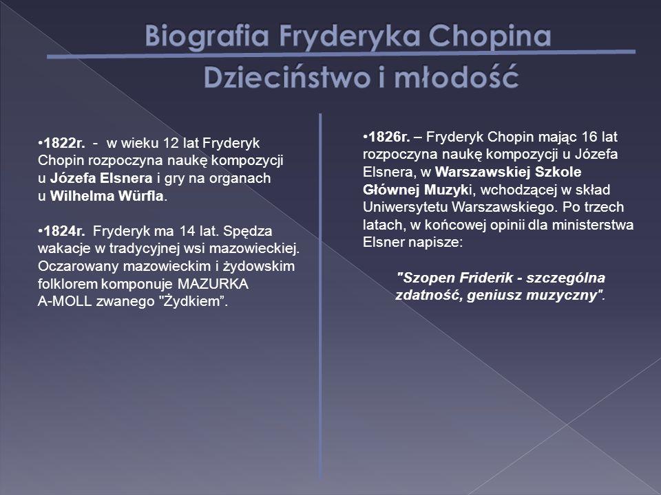 1822r. - w wieku 12 lat Fryderyk Chopin rozpoczyna naukę kompozycji u Józefa Elsnera i gry na organach u Wilhelma Würfla. 1824r. Fryderyk ma 14 lat. S