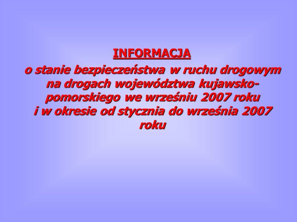INFORMACJA o stanie bezpieczeństwa w ruchu drogowym na drogach województwa kujawsko- pomorskiego we wrześniu 2007 roku i w okresie od stycznia do wrze