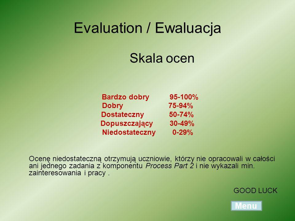 Evaluation / Ewaluacja Skala ocen Bardzo dobry 95-100% Dobry 75-94% Dostateczny 50-74% Dopuszczający 30-49% Niedostateczny 0-29% Ocenę niedostateczną