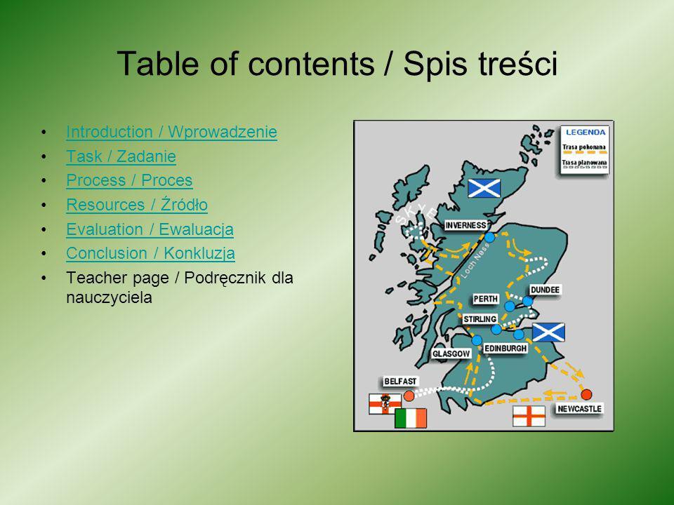 Table of contents / Spis treści Introduction / Wprowadzenie Task / Zadanie Process / Proces Resources / ŹródłoResources / Źródło Evaluation / Ewaluacj