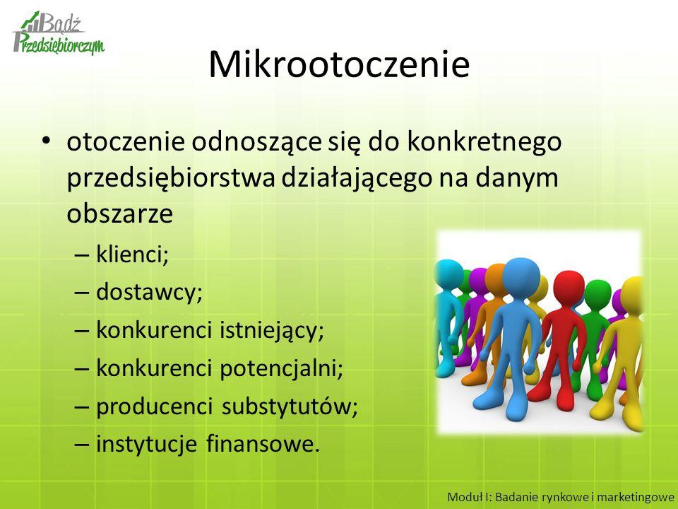 Makrootoczenie Jest wspólne dla wszystkich przedsiębiorstw z danej branży w Polsce: – otoczenie ekonomiczne; – otoczenie polityczne i prawne; – otoczenie społeczne; – otoczenie demograficzne; – otoczenie technologiczne; – otoczenie międzynarodowe.
