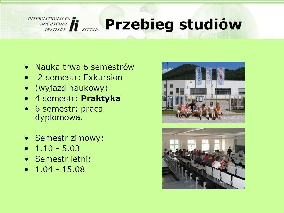 Przebieg studiów Nauka trwa 6 semestrów 2 semestr: Exkursion (wyjazd naukowy) 4 semestr: Praktyka 6 semestr: praca dyplomowa.