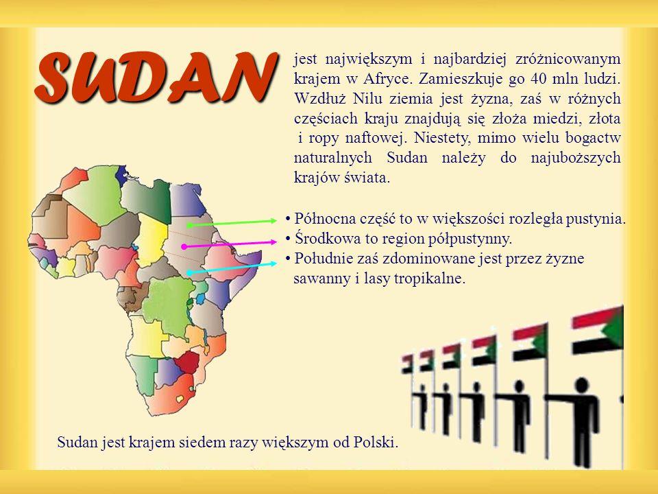SUDAN Północna część to w większości rozległa pustynia. Środkowa to region półpustynny. Południe zaś zdominowane jest przez żyzne sawanny i lasy tropi