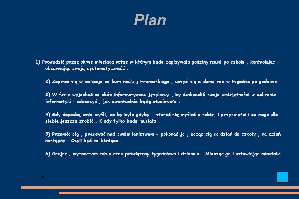 Plan 1) Prowadzić przez okres miesiąca notes w którym będę zapisywała godziny nauki po szkole, kontrolując i obserwując swoją systematyczność.