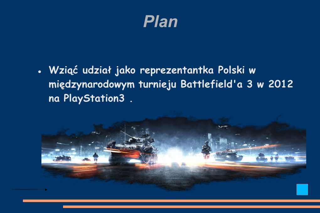 Plan Wziąć udział jako reprezentantka Polski w międzynarodowym turnieju Battlefield a 3 w 2012 na PlayStation3.