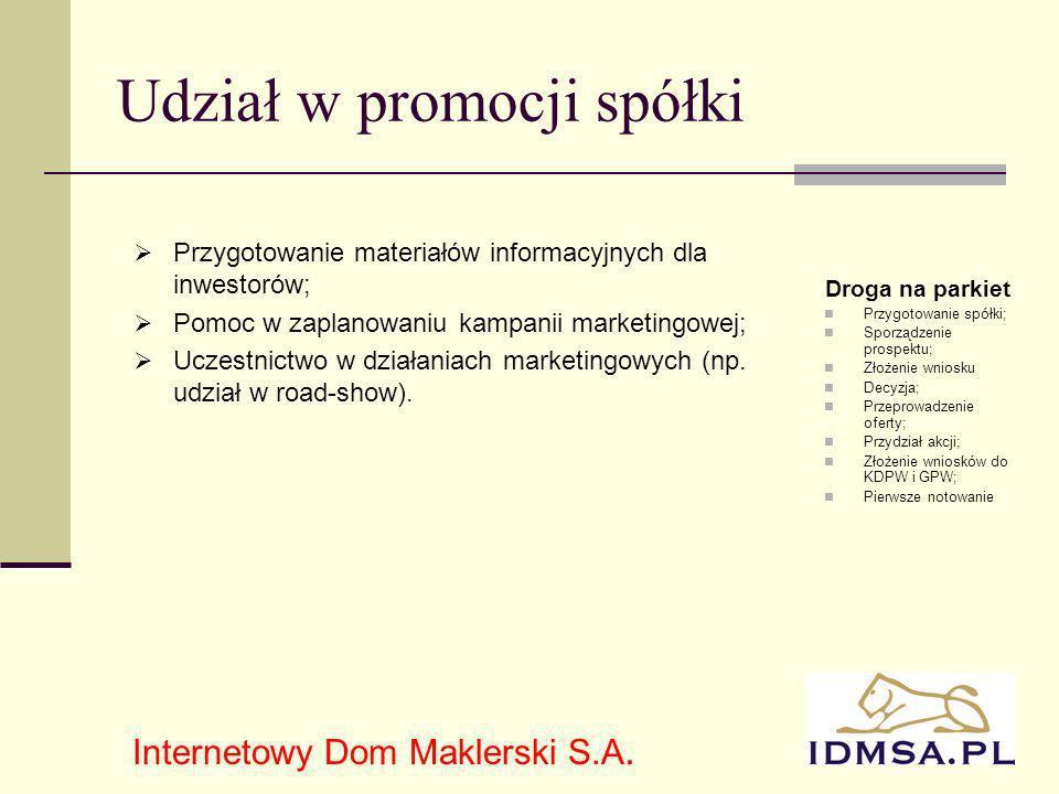 11 Udział w promocji spółki Przygotowanie materiałów informacyjnych dla inwestorów; Pomoc w zaplanowaniu kampanii marketingowej; Uczestnictwo w działaniach marketingowych (np.