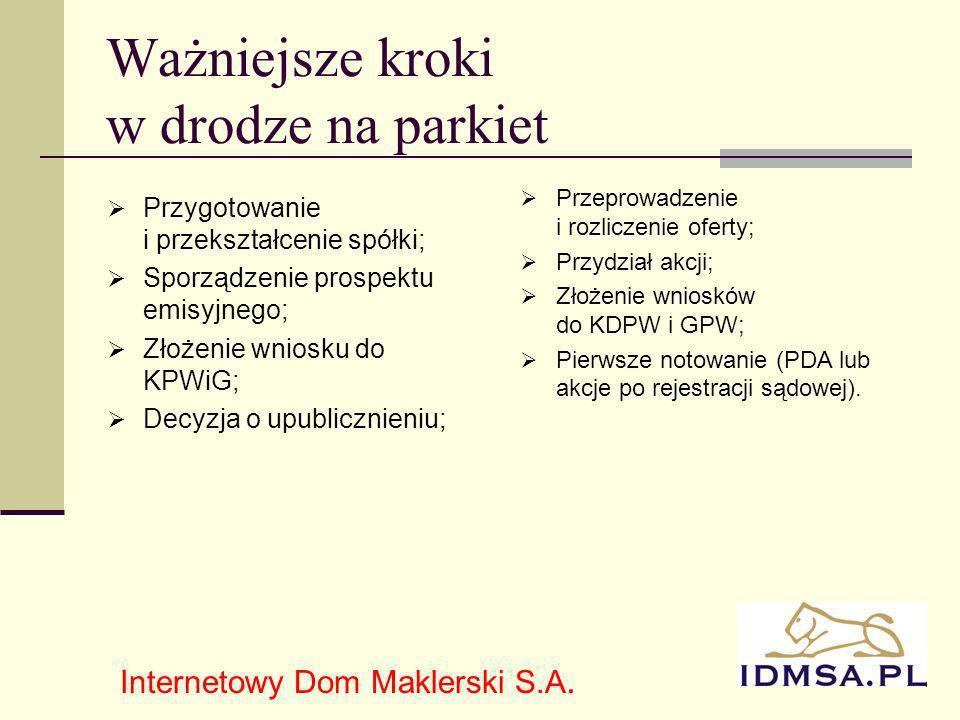 4 Ważniejsze kroki w drodze na parkiet Przygotowanie i przekształcenie spółki; Sporządzenie prospektu emisyjnego; Złożenie wniosku do KPWiG; Decyzja o upublicznieniu; Internetowy Dom Maklerski S.A.