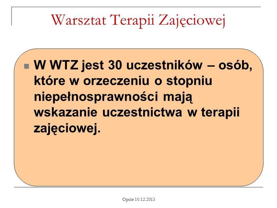 Opole 10.12.2013 Warsztat Terapii Zajęciowej W WTZ jest 30 uczestników – osób, które w orzeczeniu o stopniu niepełnosprawności mają wskazanie uczestnictwa w terapii zajęciowej.
