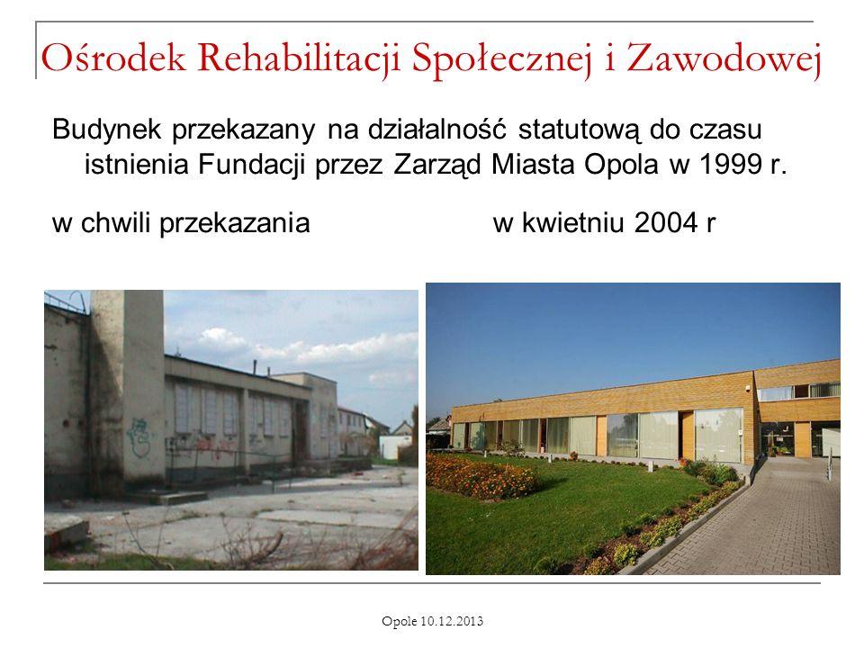 Opole 10.12.2013 Ośrodek Rehabilitacji Społecznej i Zawodowej Budynek przekazany na działalność statutową do czasu istnienia Fundacji przez Zarząd Mia