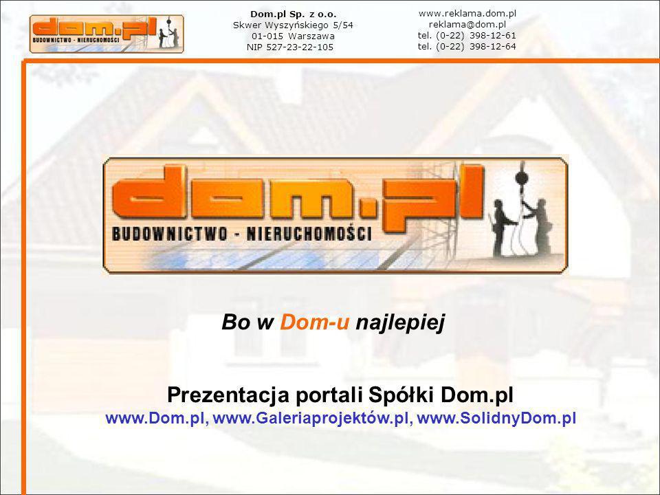 Bo w Dom-u najlepiej Dom.pl Sp. z o.o. Skwer Wyszyńskiego 5/54 01-015 Warszawa NIP 527-23-22-105 www.reklama.dom.pl reklama@dom.pl tel. (0-22) 398-12-