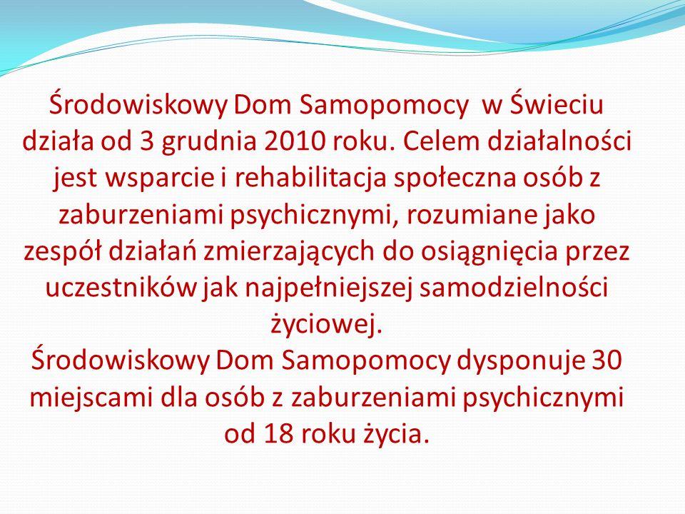 Środowiskowy Dom Samopomocy znajduje się w budynku byłej Szkoły Specjalnej na terenie Wojewódzkiego Szpitala dla Nerwowo i Psychicznie Chorych przy ul.