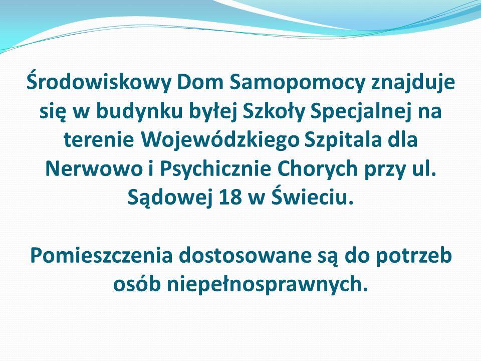 Środowiskowy Dom Samopomocy znajduje się w budynku byłej Szkoły Specjalnej na terenie Wojewódzkiego Szpitala dla Nerwowo i Psychicznie Chorych przy ul