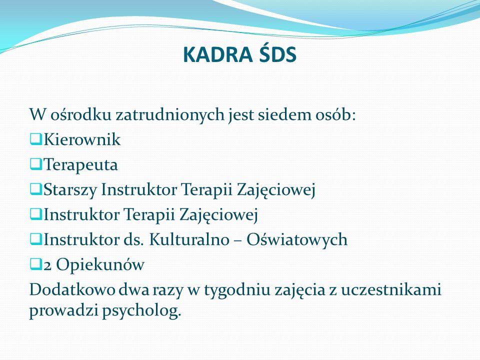 KADRA ŚDS W ośrodku zatrudnionych jest siedem osób: Kierownik Terapeuta Starszy Instruktor Terapii Zajęciowej Instruktor Terapii Zajęciowej Instruktor