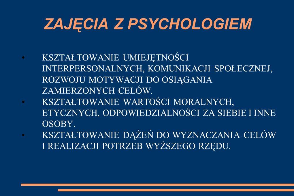 ZAJĘCIA Z PSYCHOLOGIEM KSZTAŁTOWANIE UMIEJĘTNOŚCI INTERPERSONALNYCH, KOMUNIKACJI SPOŁECZNEJ, ROZWOJU MOTYWACJI DO OSIĄGANIA ZAMIERZONYCH CELÓW. KSZTAŁ