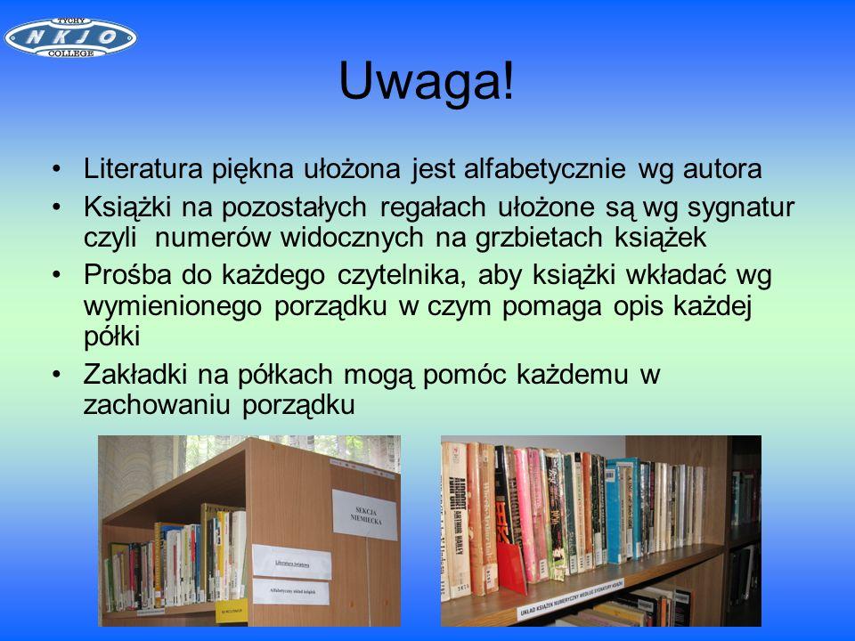UDOSTĘPNIANIE Zbiorów biblioteki Do wypożyczenia książek potrzebna jest karta słuchacza Słuchacze I i II roku mogą wypożyczyć 5 książek Słuchacze III roku mogą wypożyczyć 7 książek Użytkownicy z innych uczelni mogą skorzystać z biblioteki po okazaniu indeksu oraz wpłaceniu 50 zł kaucji w pokoju administracji na I piętrze.